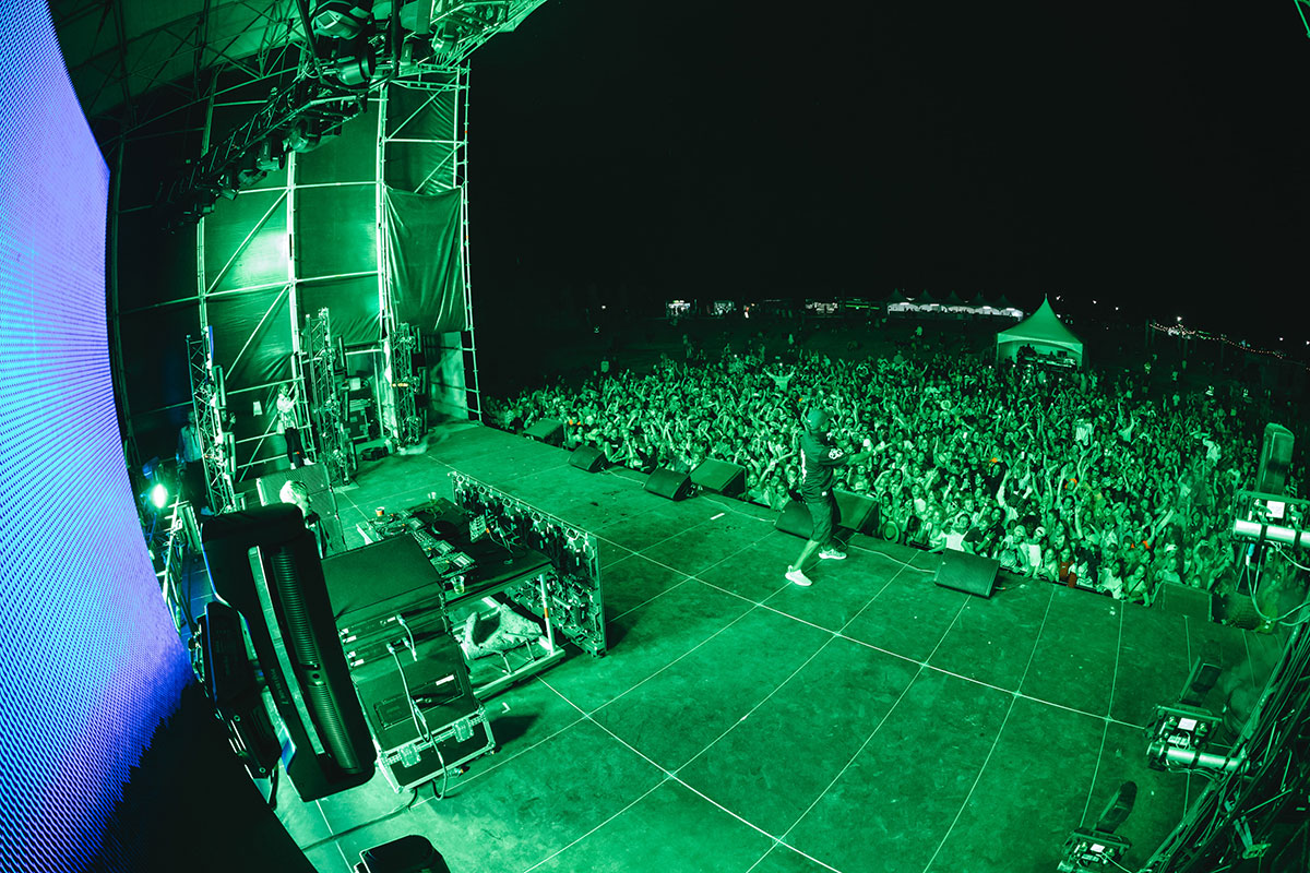 Green lit stage, Farm Dance 2020, Whangamata